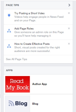 right hand sidebar of author/fan page of Mae Clair displaying the Facebook Author Aoo