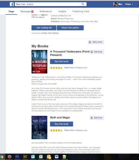 screen shot of facebook's author app from fan page for Mae Clair depicts book covers and book blurbs