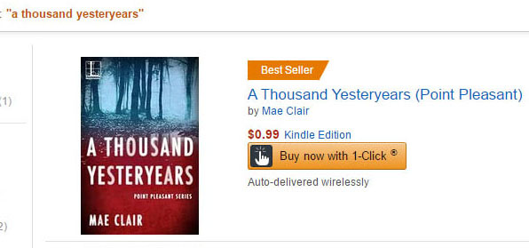 Screen shot of book ranking for A THOUSAND YESTERYEARS by author Mae Clair on Amazon