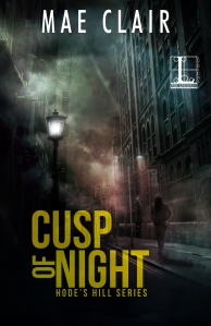 Book cover for Cusp of Night by Mae Can shows dark alley with a solitary figure below street lamp