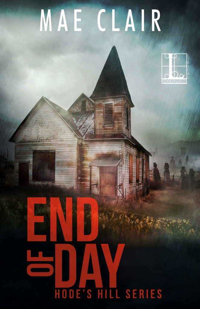 book cover for End of Day by Mae Clair shows an old abandoned church with a graveyard in the background