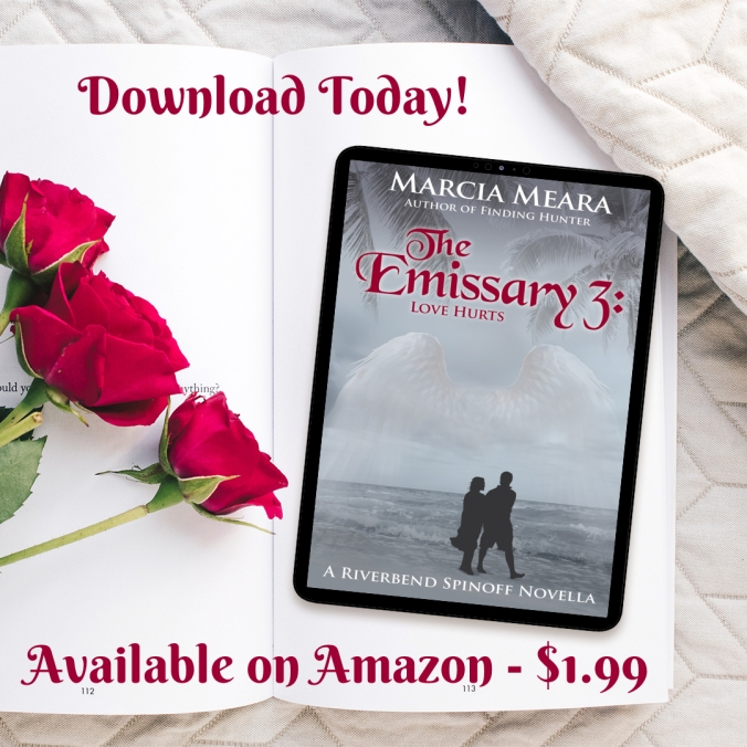 Banner ad for Emissary 3 by Marcia Meara shows Kindle with book cover displayed lying next to red roses